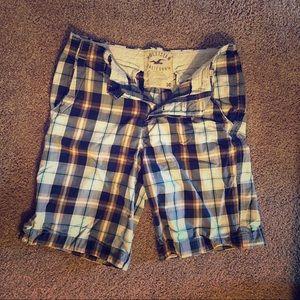 Hollister Plaid Blue / Gold Shorts